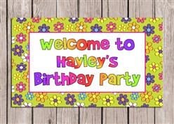 Retro Flower Power 70s Birthday Party Sign