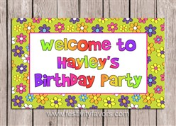 Retro Flower Power 70's Birthday Party Sign