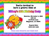 Groovy Retro Hippie Flower Power 60's 70's Party Invitations