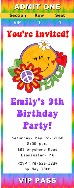 Retro Flower Power 60's 70's Birthday Party Ticket Invitations