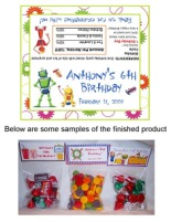 Robot Robots Birthday Party Bag Toppers Favors w/Recloseable Bags