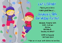 Rock Wall Climbing Birthday Party Invitations