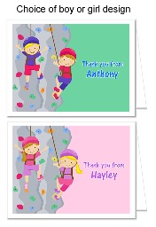 Rock Wall Climbing Thank You Note Cards