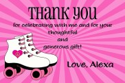 Roller Skating Thank You Cards Personalized