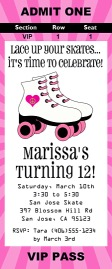 Roller Skating Birthday Party Ticket Invitations