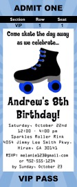 Roller Skating Boy Birthday Party Ticket Invitations