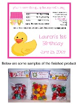 Rubber Ducky Birthday Girl Party Bag Toppers Favors w/Recloseable Bags
