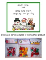 Christmas Snowman Santa Party Bag Toppers Favors w/Recloseable Bags