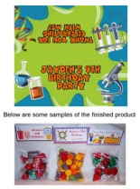 Science Birthday Party Bag Toppers Favors w/Recloseable Bags