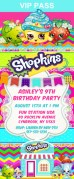Shopkins Birthday Party Ticket Invitations