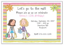Shopping Mall Birthday Party Invitations Girl