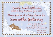 Twinkle Star Bear Baby Shower Invitations Boy