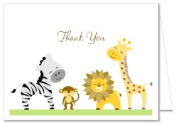 Jungle Animals Baby Shower Thank You Note Cards