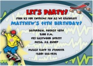 Skateboarding Birthday Party Invitations