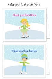 Ice Skating Birthday Party Thank You Note Cards Personalized