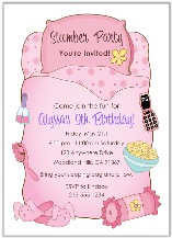 Slumber Party Sleepover Birthday Invitations Girl 2
