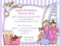 Slumber Party Sleepover Birthday Invitations Girl
