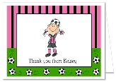 Soccer Girl Birthday Party Thank You Note Cards Personalized