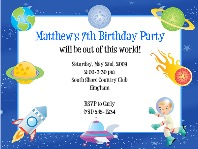 Space Birthday Party Invitations