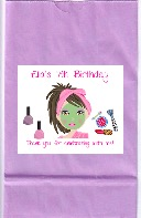 Spa Makeover Birthday Party Goodie Loot Bag Labels