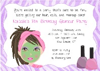 Spa Makeover Birthday Party Invitations