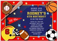 Sports Birthday Party Invitations