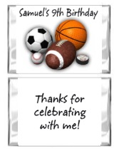 Sports Birthday Mini Candy Wrappers Favors