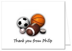 Sports Birthday Party Thank You Note Cards Personalized