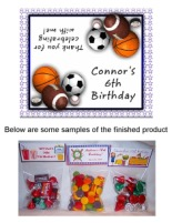 Sports Birthday Party Bag Toppers Favors w/Recloseable Bags
