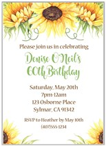 Sunflower Birthday Party Invitations
