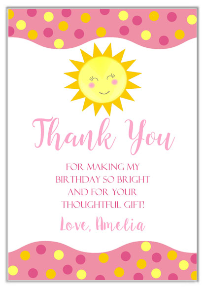 Sunshine Thank You Cards