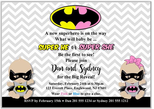 Superhero Gender Reveal Invitations