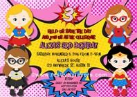 Superhero Girl Birthday Party Invitations