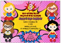 Superhero Girl Birthday Party Invitations