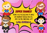 Superhero Girl Thank You Cards Personalized