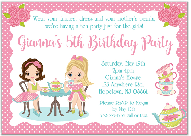 Dress Up Tea Party Invitations