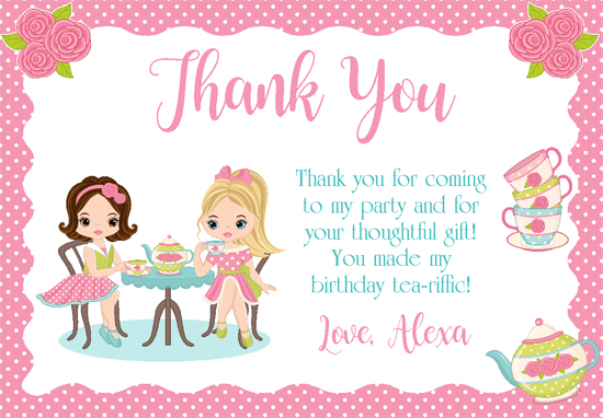 Dress Up Tea Party Thank You Cards