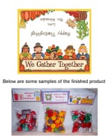 Thanksgiving Party Bag Toppers Favors w/Recloseable Bags