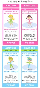Ice Skating Birthday Party Ticket Invitations