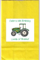 Green Tractor Birthday Party Personalized Goodie Loot Bag Labels