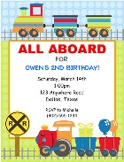 Choo Choo Train Birthday Party Invitations