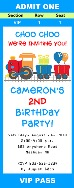 Choo Choo Train Birthday Party Ticket Invitations