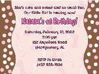Trendy Pink Brown Polka Dots 1st Birthday Girl Party Invitations