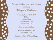 Trendy Blue Brown Polka Dots Baby Shower Invitations