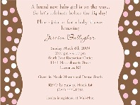 Trendy Pink Brown Polka Dots Baby Shower Invitations