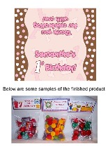 Pink Brown Polka Dots 1st Birthday Girl Party Bag Toppers Favors