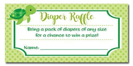 Turtle Baby Shower Diaper Raffle Tickets