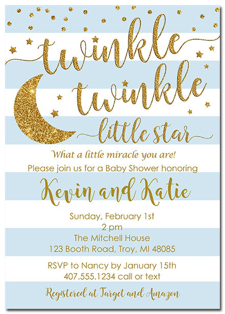 Twinkle Star Boy Baby Shower Invitations