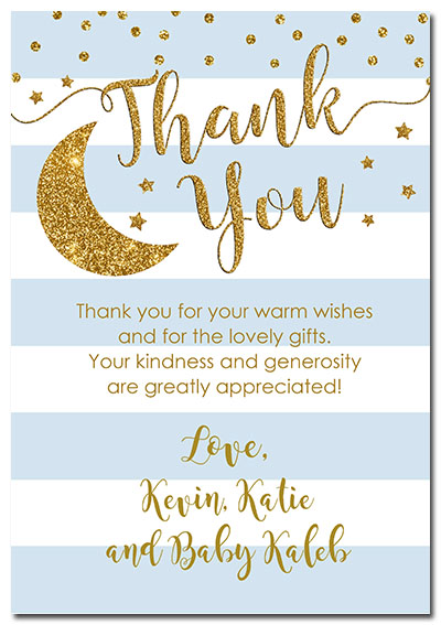 Twinkle Little Star Boy Baby Shower Thank You Cards