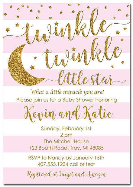 Twinkle Star Girl Baby Shower Invitations